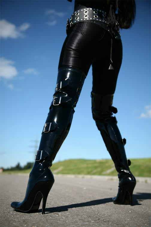 Zwarte Stretch Lak Stiletto Overknee Laarzen Lak Triple